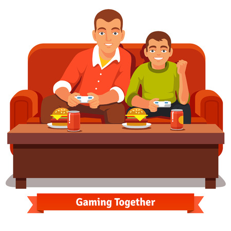 family fun: Father and son playing video games on red sofa and having a meal. Big and small brother. Flat style vector illustration isolated on white background.