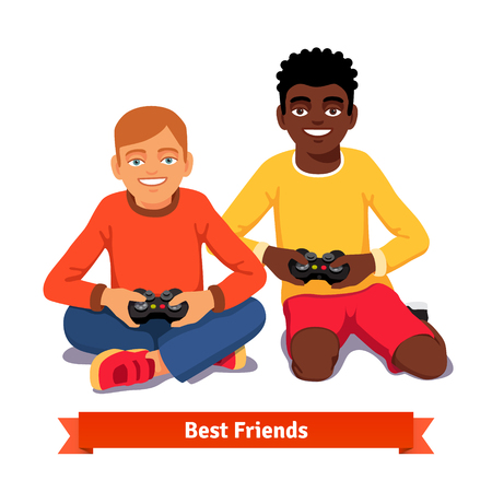 home video: Best friends video gaming together on the floor. Flat style vector illustration isolated on white background.