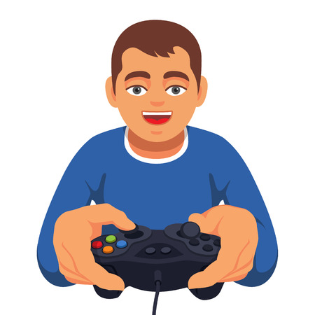 excited cartoon: Teen boy gaming with gamepad controller. Closeup of joystick holding in hands. Flat style vector illustration isolated on white background.