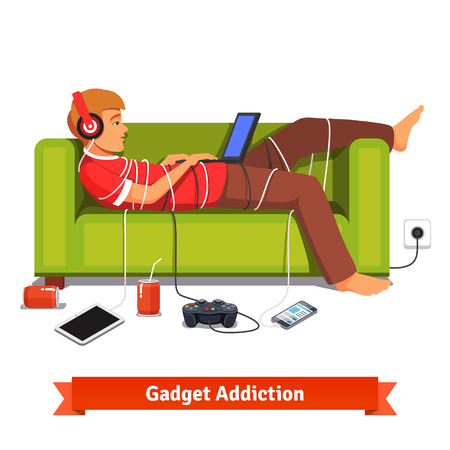 media gadget: Lazy teen student lying down with laptop on couch tied down with technologic gadget wires. Flat style vector illustration isolated on white background.