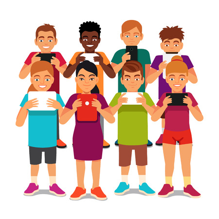 Group of kids standing together but apart looking into their phones and tablets. Children media addiction concept. Flat style vector illustration isolated on white background. Illustration