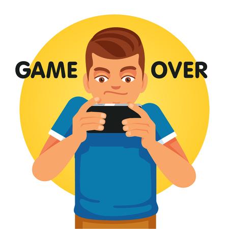 Jonge gamer en smartphone verslaafde ongelukkig over game over. Vlakke stijl vector illustratie geïsoleerd op een witte achtergrond.