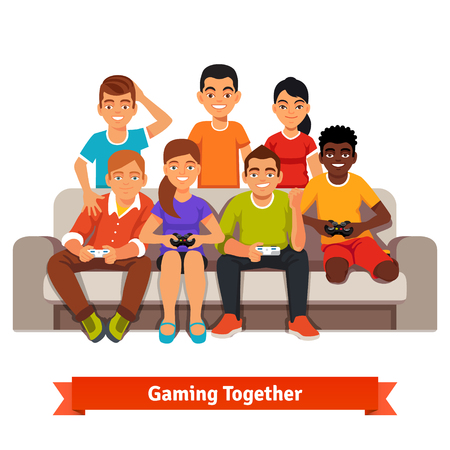 mixed race children: Big mixed race group of teen friends having a video games party, playing on sofa. Flat style vector illustration isolated on white background.