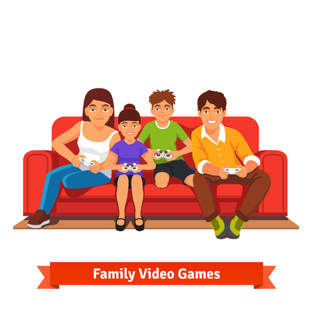 sit: Family, mom, dad, son and daughter playing video games together sitting on a red sofa on day off. Flat style vector illustration isolated on white background. Illustration