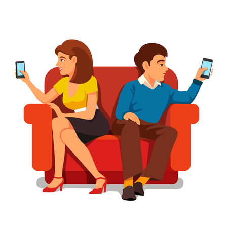 Smartphone addiction family relationship. Young woman and man, husband and wife sitting back to back on big arm chair. Flat style vector illustration isolated on white background.