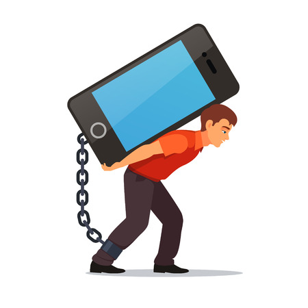 Bended man carrying on his back big and heavy mobile phone chained with shackles to his leg. Modern technology burden concept. Flat style vector illustration isolated on white background. Vettoriali