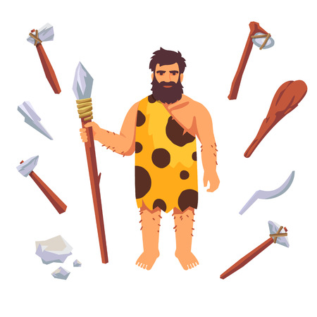 pelt: Stone age primitive man with wooden tools, axe, hammer, club, axe, spear. Flat style vector illustration isolated on white background.