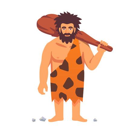 Stenen tijdperk primitieve mens in dierenhuid pels met grote houten knuppel. Vlakke stijl vector illustratie geïsoleerd op een witte achtergrond.