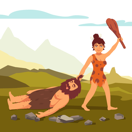 Stone age primitive woman drawing bearded man and saluting with wooden club. Woman power. Flat style vector illustration isolated on white background. Stock Illustratie