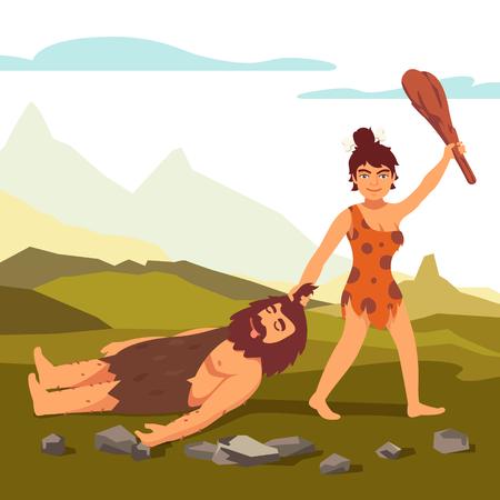 jaskinia: Stone Age prymitywna kobieta rysunek brodaty mężczyzna i salutowania z drewnianą pałką. Moc kobietą. Mieszkanie w stylu ilustracji wektorowych na białym tle.