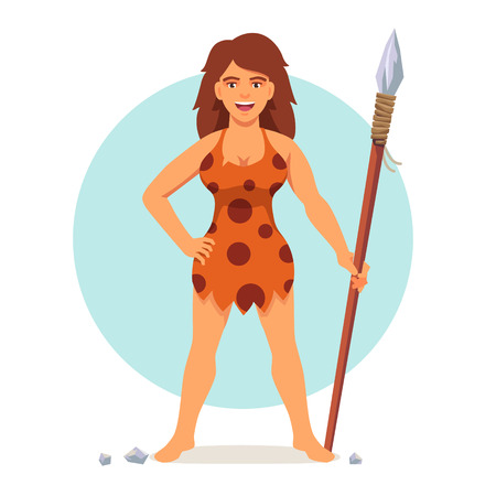 cro magnon: Stone age woman in animal hide pelt with wooden spear. Amazon or barbarian female. Flat style vector illustration isolated on white background.