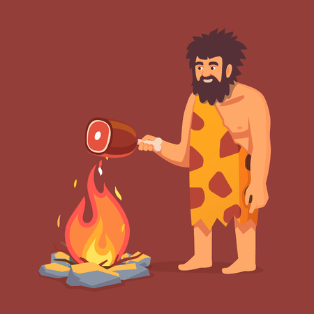 Stone age primitive man in animal hide pelt cooking meat food on fire. Flat style vector illustration isolated on white background.