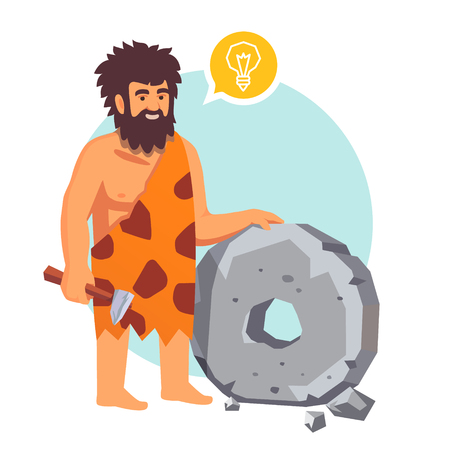 invents: Stone age primitive man had an idea and invents a wheel. Flat style vector illustration isolated on white background.