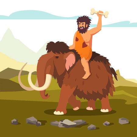 hunter man: Stone age primitive man riding mammoth and saluting with bone in his hand. Flat style vector illustration isolated on white background.