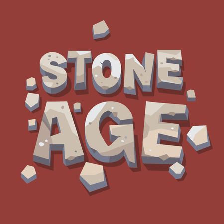 cro magnon: Stone age writing. 3d letters. Flat style vector illustration isolated on white background.