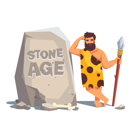 primitive: Stone age engraving on a big tablet rock with leaning caveman. Flat style vector illustration isolated on white background.