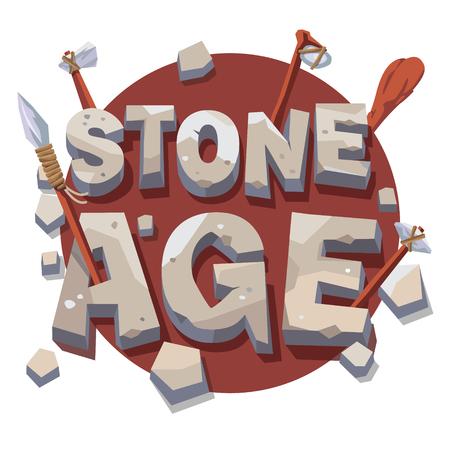 età della pietra scrittura con strumenti di legno preistorici. 3d lettere. Piatto stile illustrazione vettoriale isolato su sfondo bianco.