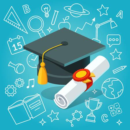 Université chapeau des étudiants bord de mortier et le diplôme avec un cachet officiel et le ruban sur les icônes de l'éducation fond. Flat illustration vectorielle de style.
