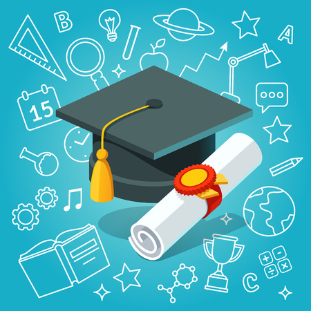 mortar board: University student cap mortar board and diploma with official stamp and ribbon on education icons background. Flat style vector illustration.