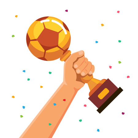 world ball: Winner team player holding soccer ball shaped cup trophy. Flat style vector illustration isolated on white background.