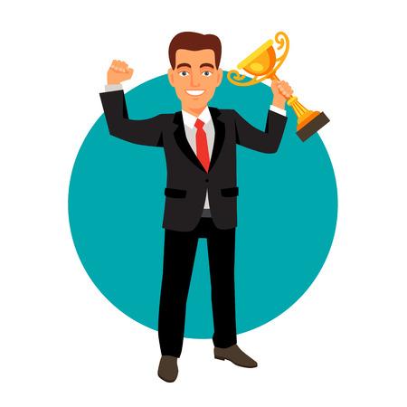 white achievement: Celebrating businessman holding winner cup trophy. Business achievement concept. Flat style vector illustration isolated on white background.