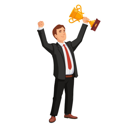 trophy winner: Celebrating businessman holding winner cup trophy. Business achievement concept. Flat style vector illustration isolated on white background.