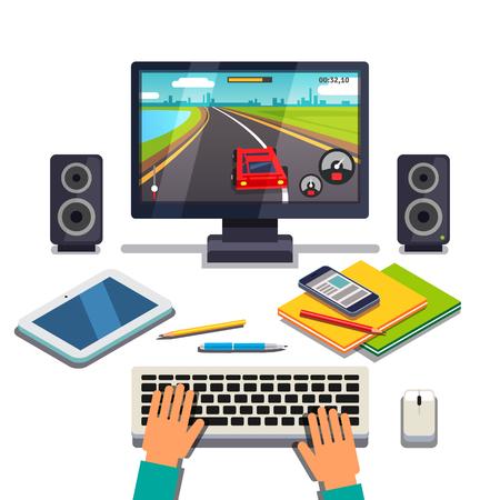 niños jugando videojuegos: El estudiante es el juego en una PC de escritorio del ordenador. Tableta, teléfono celular y los libros de texto se extiende delante de las manos del jugador en el teclado. ilustración vectorial de estilo plano aislado en el fondo blanco. Vectores
