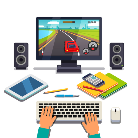 Student is gaming on a desktop computer pc. Tablet, cellphone and textbooks lying in front of player hands on the keyboard. Flat style vector illustration isolated on white background.