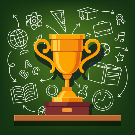 contest: Education success golden cup in front of education icons drawn on chalkboard background. Flat style vector illustration.