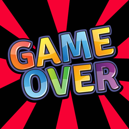 game over: Game over letter composition.Flat style vector illustration.