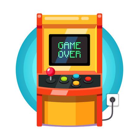 레트로 아케이드 기계는 메시지를 통해 픽셀 게임에 연결합니다. 플랫 스타일 벡터 일러스트 레이 션 흰색 배경에 고립입니다.