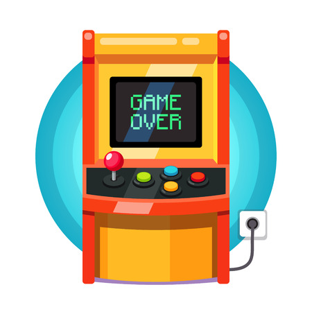 unsuccess: Retro arcade machine plugged in with pixel game over message. Flat style vector illustration isolated on white background.