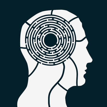 Maze of human mind. Brain game concept. Flat style vector illustration isolated on dark background.