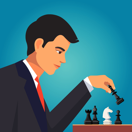 queen blue: Confident businessman in business suit making a chess move with a queen playing black pieces. Flat style vector illustration isolated on blue background.