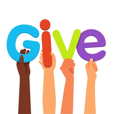 mains de course holding mixte donner des lettres de mots. International notion de charité de dons. le style plat illustration vectorielle isolé sur fond blanc.