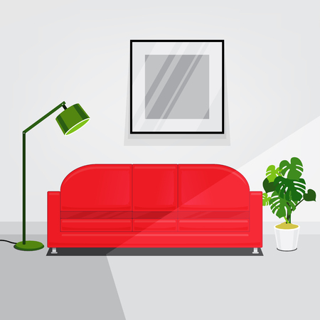 lit: White walls living room interior lit by sunlight with red sofa and green lamp. Flat style vector illustration.
