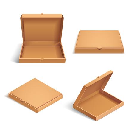 Realistische 3D-isometrische pizza kartonnen doos. Geopend, gesloten, zij- en bovenaanzicht. Vlakke stijl vector illustratie geïsoleerd op een witte achtergrond.