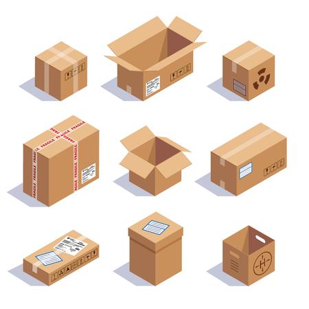 Het verzamelen van kartonnen dozen. Geopend, gesloten, verzegeld, kubieke, groot en klein. Rood gestreept en boog gebonden confetti explosie. Vlakke stijl vector illustratie geïsoleerd op een witte achtergrond.