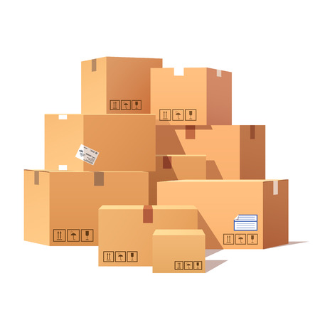 fragile: Pile of stacked sealed goods cardboard boxes. Flat style vector illustration isolated on white background.