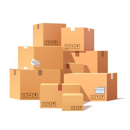Stos ułożone zapieczętowanych towarów kartonów. Mieszkanie w stylu ilustracji wektorowych na białym tle.