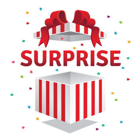 sorpresa: Abrió la caja de regalo sorpresa. rayas rojas y arco vinculados explosión de confeti. ilustración vectorial de estilo plano aislado en el fondo violeta.