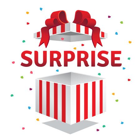 Otwarty niespodzianka pudełko. Czerwone paski i łuk związany konfetti eksplozję. Płaski styl ilustracji wektorowych samodzielnie na fioletowym tle. Ilustracje wektorowe