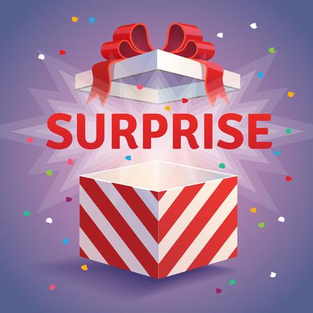 Otwarty niespodzianka pudełko. Czerwone paski i łuk związany konfetti eksplozję. Płaski styl ilustracji wektorowych samodzielnie na fioletowym tle.