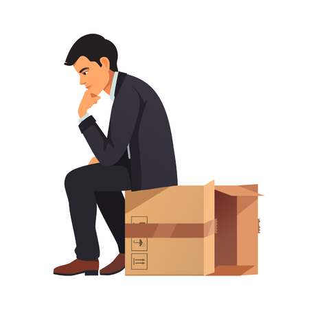 contemplation: Businessman thinking outside the box concept. Man in business suit sitting on empty cardboard packing and solving problem in his mind. Flat style vector illustration isolated on white background. Illustration