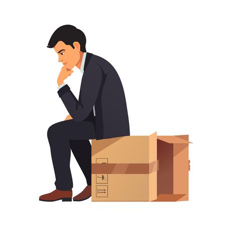 pensador: El pensamiento de negocios fuera del concepto de caja. El hombre en traje de negocios sentado en el embalaje de cartón vacía y la resolución de problemas en su mente. ilustración vectorial de estilo plano aislado en el fondo blanco.