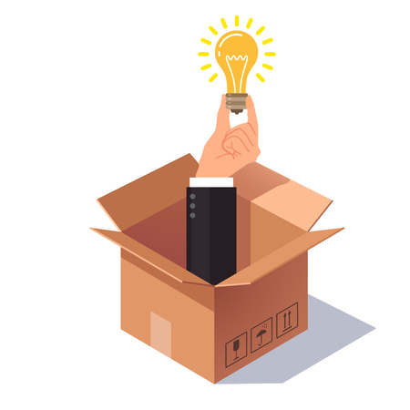 Thinking out of the box concept. Hand in business suit sticking from cardboard packing and holding lightbulb symbolising new idea. Flat style vector illustration isolated on white background.