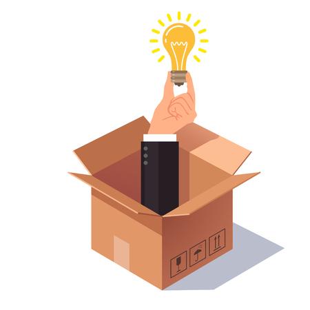 Thinking out of the box concept. Hand in pak steken uit de kartonnen verpakking en het houden van gloeilamp symboliseert nieuw idee. Vlakke stijl vector illustratie geïsoleerd op een witte achtergrond.