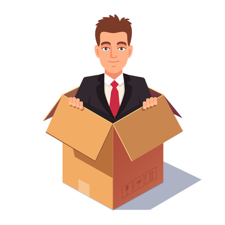 Thinking out of the box concept. Business man sitting in the cardboard container. Flat style vector illustration isolated on white background.