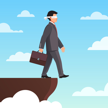 precipice: Leap of faith concept. Blindfolded businessman walks off the cliff. Flat style vector illustration.