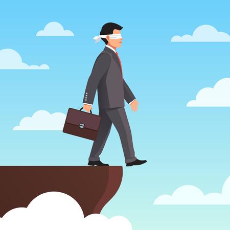 Leap of Faith concept. Geblinddoekt zakenman loopt weg van de klif. Vlakke stijl vector illustratie. Vector Illustratie